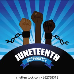 Juneteenth independence design with raised fists wearing broken shackles. EPS 10 vector.