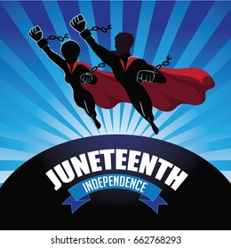 Juneteenth independence design with super man and woman wearing broken shackles. EPS 10 vector.