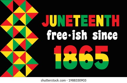 Juneteenth Since June 19, 1865. Young Black and Free-ish. Black Lives Matter. Celebrate Freedom or Emancipation day African-American. Banner, t-shirt and greeting card design.