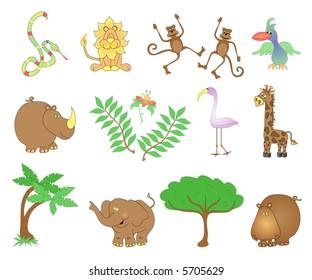Jungle animals.