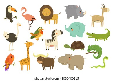 Jungle animals and birds set, flamingo, gazelle, elephant, rhinoceros, ostrich, toucan, lion, turtle, crocodile, giraffe vector Illustrations on a white background