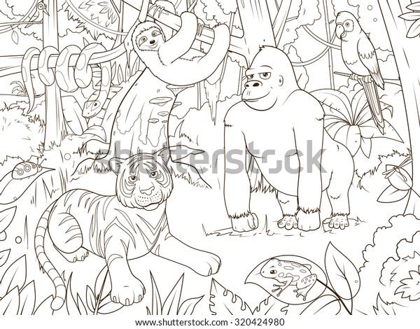Jungle Animals Cartoon Coloring Book Vector Stock ...