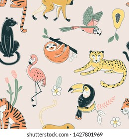 Jungle animals color vector seamless pattern. Flamingo, parrot, tiger background. Flora and fauna. Wild nature. Birds and predators. Decorative animal textile, wallpaper, wrapping paper design