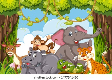 Jungle animals in a forest claring illustration