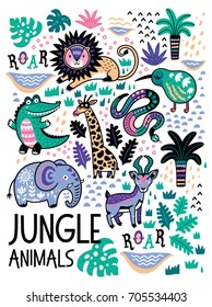 Jungle animals set in childish style. Vector collection with lion, kiwi, snake, elephant, impala, giraffe and crocodile in vector