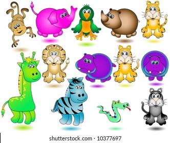 Jungle Animals Vector.