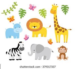 Jungle Animals Vector Set