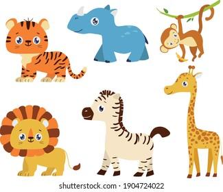 Jungle animals vector tiger zebra monkey lion girafe