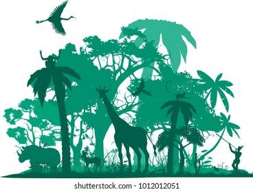 Jungle animals, wildlife jungle scene, vector silhouette. Wildlife theme