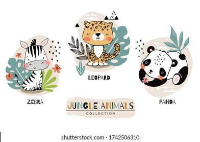 Jungle baby animals collection. Zebra with leopard and panda cartoon characters. Hand drawn icon set . Surface design illustration.