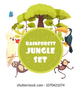Jungle decorative round frame with trees and plants of rain forest and exotic animals cartoon vector illustration