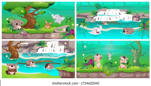 Jungle flat color vector illustrations set. Cute animal babies swim in clear water. Wildlife sanctuary. Conservation with exotic nature. Rainforest oasis. Tropical forest 2D cartoon landscape