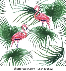 Jungle floral vector seamless pattern background with tropical palm leaves, wild pink flamingo bird. Exotic botanical illustration wallpaper