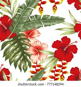 Jungle flowers and plants white background. Seamless pattern