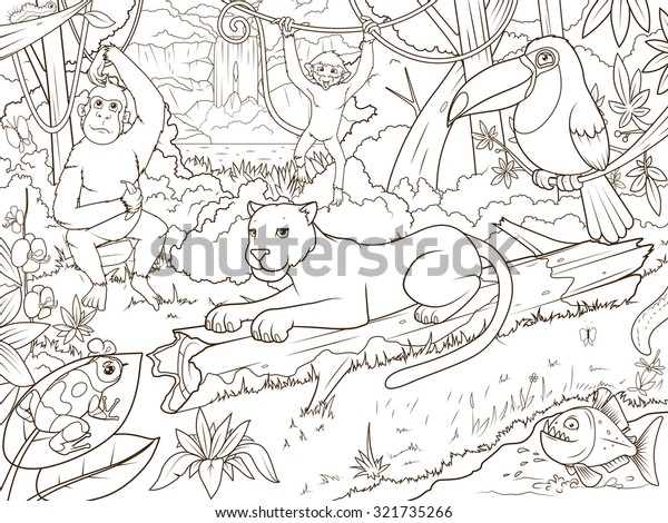Jungle Forest Animals Cartoon Coloring Book Stock ...