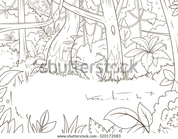 Vetor Stock De Selva Floresta Desenhos Animados Colorir Livro