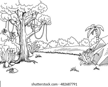 Jungle forest graphic art black white landscape sketch illustration vector