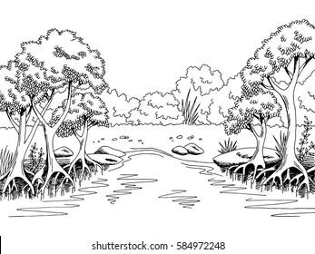 Jungle forest river graphic black white landscape sketch illustration vector