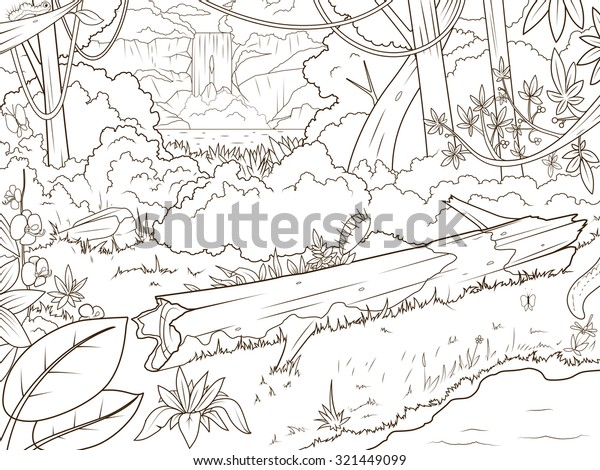 Jungle Forest Waterfall Coloring Book Cartoon Stock ...