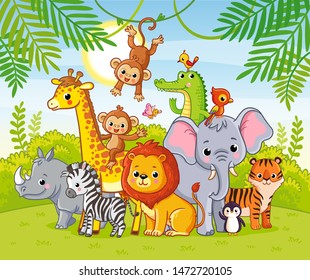 Jungle landscape with cute african animals. Large set of animals. Vector.