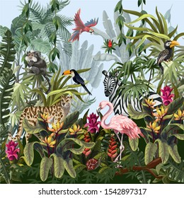 Jungle landscape with wild animals. Vector.