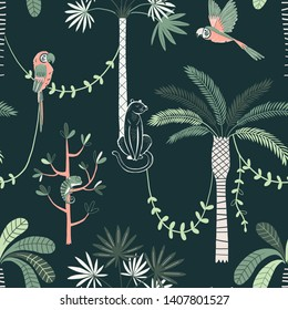 Jungle life vector color seamless pattern. Panther and parrot background. Rainforest, jungle fauna, flora. Tropical plants, palms, liana. Decorative botanical textile, wallpaper, wrapping paper design