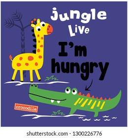 jungle live funny animal cartoon,vector illustration