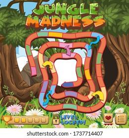 Jungle madness boardgame template illustration