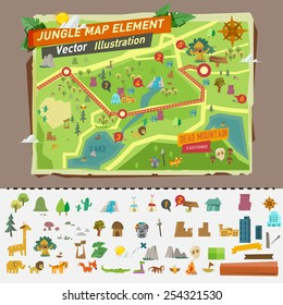 jungle map with graphic elements - vector illustration
