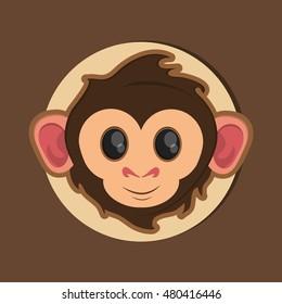 jungle monkey cartoon emblem