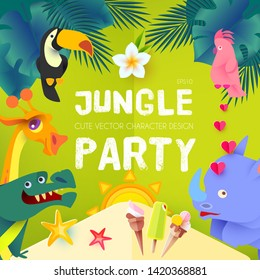 Jungle Party. Cute Exotic Animals Design. Children Event Poster Template. Papercraft. Vector illustration