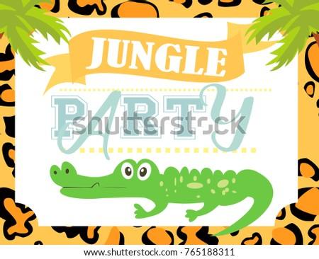 jungle party invitation card stock vector royalty free 765188311
