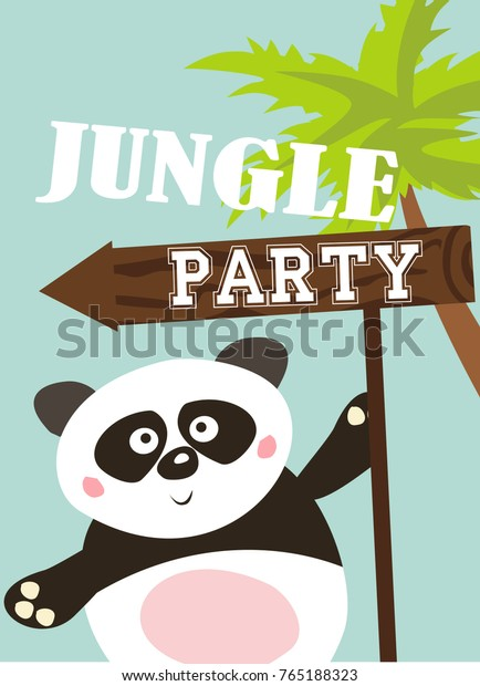 Jungle Party Invitation Card Stock Vector Royalty Free