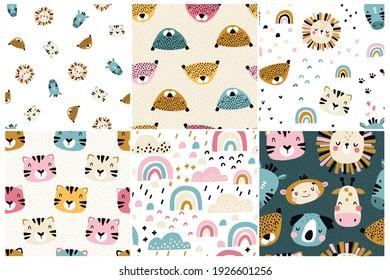 Conjunto de patrones de la jungla. Colección de fondos de bebé sin costura vectorial con hermosas muzzles de animales tropicales. Nubes rosas. Personajes de garabatos dibujados a mano. Ideal para tejidos de vivero, tejidos y envolturas