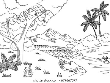 Jungle river graphic black white landscape sketch illustration vector