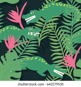 Jungle seamless pattern with tropical leaves and crocodile. Vector hand drawn illustration.