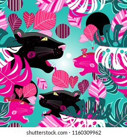 Jungle seamless vector multicolored pattern with portraits of panthers on a green background. Example for the design of business cards postcards posters