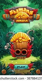 Jungle shamans game user interface play window screen. Vector illustration for web mobile video game.