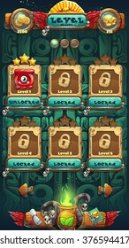 Jungle shamans mobile GUI level selected window vector illustration for graphic and web designe