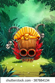 Jungle shamans user interface window screen. Vector illustration for web mobile video game.