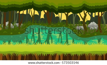 jungle theme seamless game background natural stock vector royalty