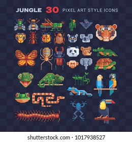 Jungle tropical animal  pixel art 80s style icon set. Sticker, logo and embroidery design. Different types animal isolated vector illustration.