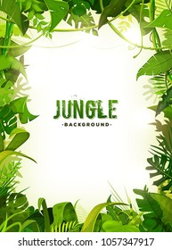 Jungle Tropical Leaves Background/ Illustration of a jungle landscape background, with ornaments made with leaves and foliage of tropical plants and trees