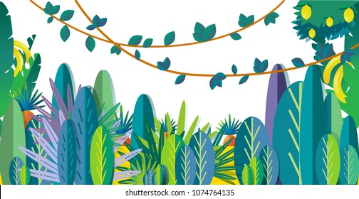 jungle vector illustration, flat style, with space for text isolated on white background