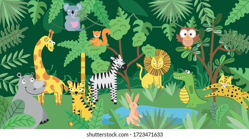 jungle with wild animals cartoons between leaves. vector illustration