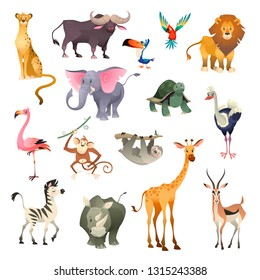 Jungle wild animals. Savannah forest animal bird safari nature africa tropical exotic forest marine mammals, cartoon vector set