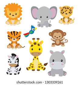 Jungle wild animals vector illustration clip art