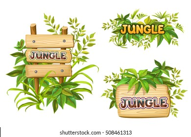 jungle. wood sign with leaves with space for text