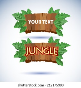 jungle wood sign vector