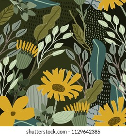 jungle with yellow floral background
